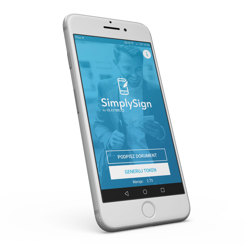 Telefon komórkowy z aplikacją SimplySign służącą do składania podpisów elektronicznych w chmurze